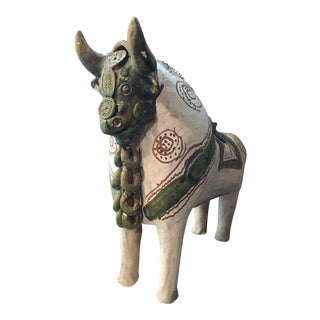 Italian Art Pottery Bull Sculpture Vessel