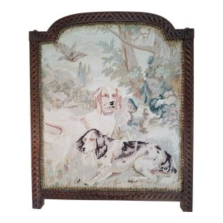 1980s Cottage Framed Hunting Dogs Needlepoint