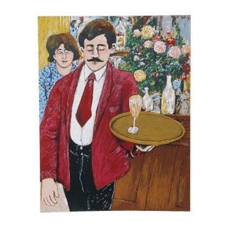 David Azuz, Italian Waiter, Lithograph For Sale