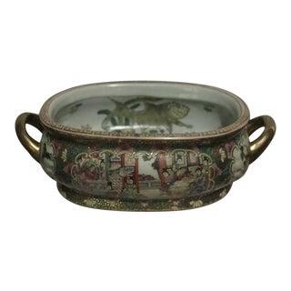 Vintage Chinese Porcelain Koi Fish Bowl Planter Jardiniere For Sale