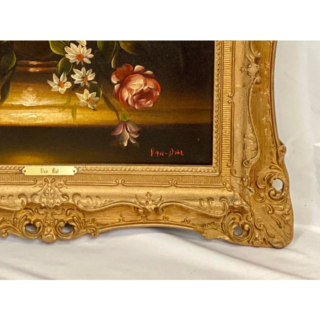 """This timeless Chelsea House Oil Painting features Floral Still Life Subject Matter, Antiqued Gold Frame, and """"Van Dal""""..."""