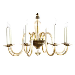 Shapely Murano 1950s Pale Gold Glass Eight-Light Chandelier For Sale