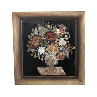 19th Century Tinsel Painting of Vase on Pedestal With Flowers