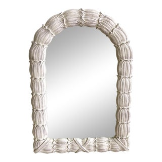 Large Acanthus Leaf Heavy Plaster Arched Mirror For Sale