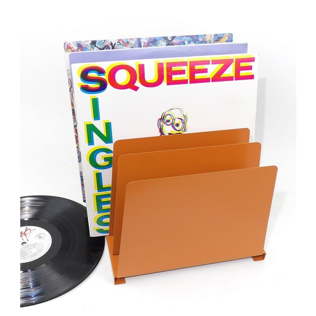 Orange Wooden Desk Organizer - Vinyl Record Rack - Image 3 of 10