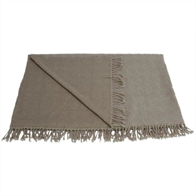 Boho Chic Sand Jammu Throw For Sale - Image 3 of 5