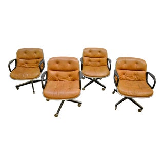 1970s Vintage Charles Pollock for Knoll International Buckskin Brown Leather Executive Chair- Set of 4 For Sale
