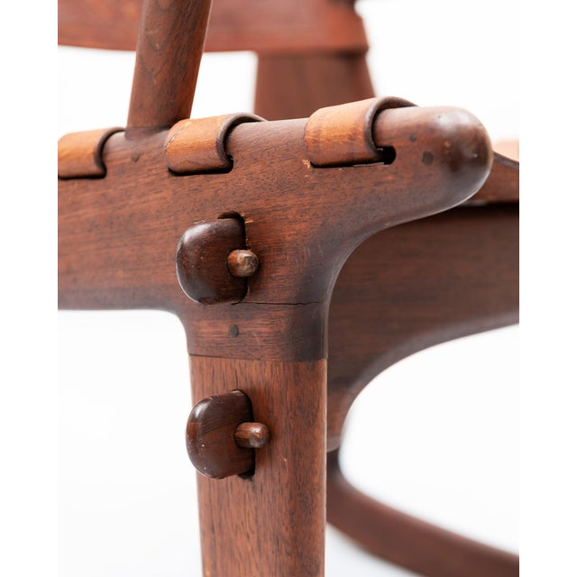 1960s Rosewood and Leather Rocker by Angel Pazmino, Ecuador, 1960s For Sale - Image 5 of 9