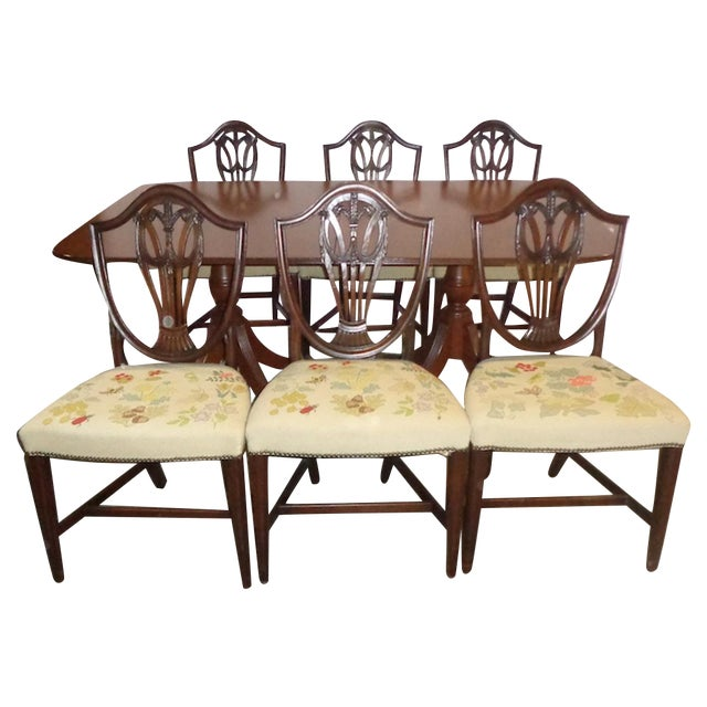 Mahogany Duncan Phyfe-Style Dining Set with 6 Chairs - Image 1 of 3
