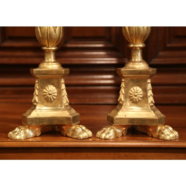 Mid 19th Century 19th Century Italian Carved Giltwood Cathedral Candlesticks - a Pair For Sale - Image 5 of 8