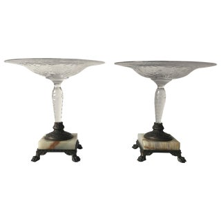 1910s Pairpoint Crystal Compotes With Bronze and Marble Base, Pair For Sale