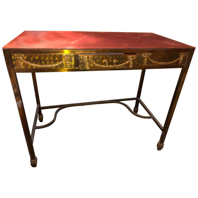 Brass Metal French Vanity Desk 1900s For Sale