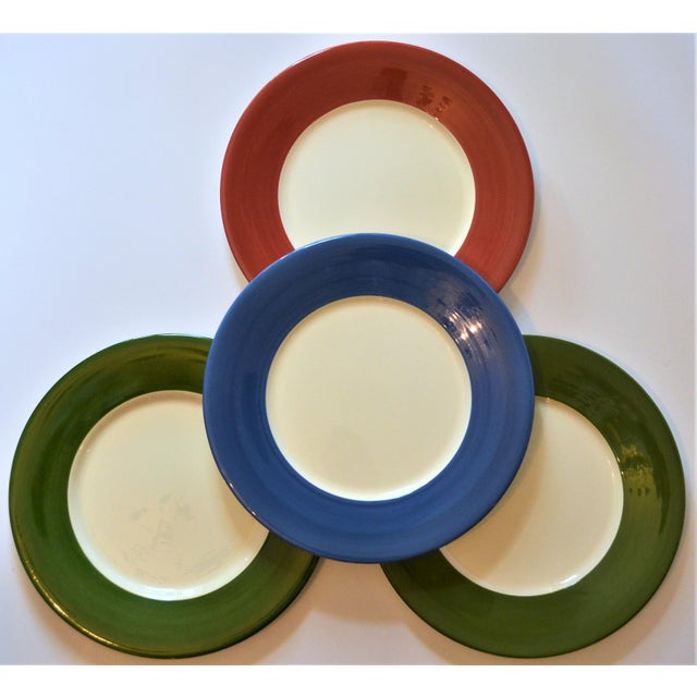 1980s Vintage French Gien Chop House Charger Plates - Set of 4 For Sale - Image 5 of 7