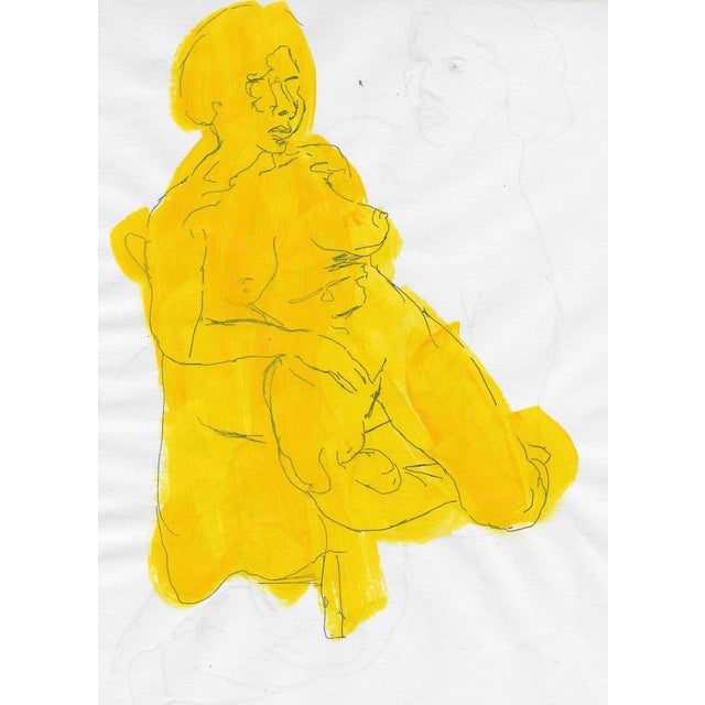 1950s Mid-Century Yellow Figure For Sale