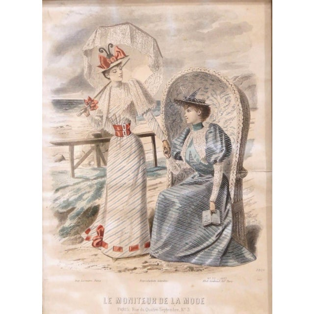 """19th Century French Color Women Fashion Prints Framed Dated 1890 """"Set of Five"""" For Sale - Image 10 of 13"""