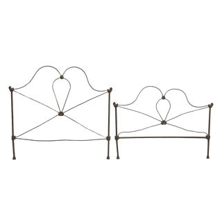 Vintage Wrought Iron Full Size Bed Frame Set For Sale