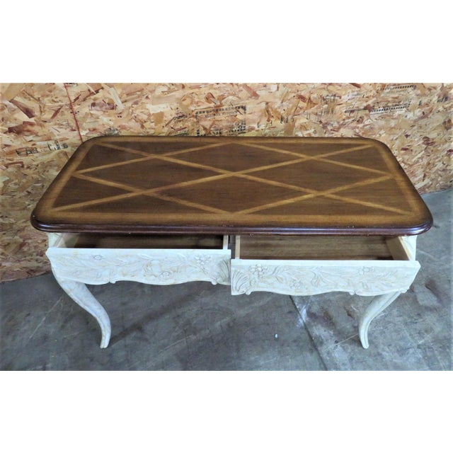 French Style Faux Painted Carved Console Table - Image 5 of 6