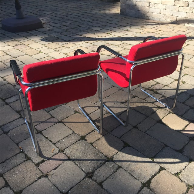 Upholstered Chrome Side Chairs- A Pair For Sale - Image 4 of 6