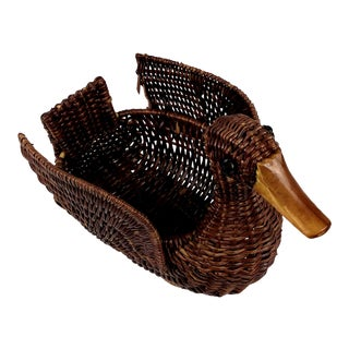 Boho 1970s Woven Wicker Duck Trinket Basket For Sale