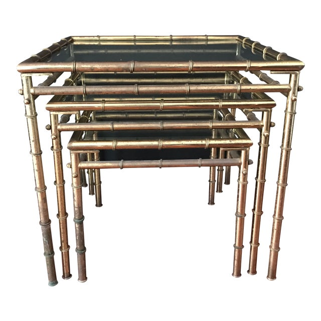 Vintage Faux Bamboo Brass Nesting Tables - Set of 3 - Image 1 of 9