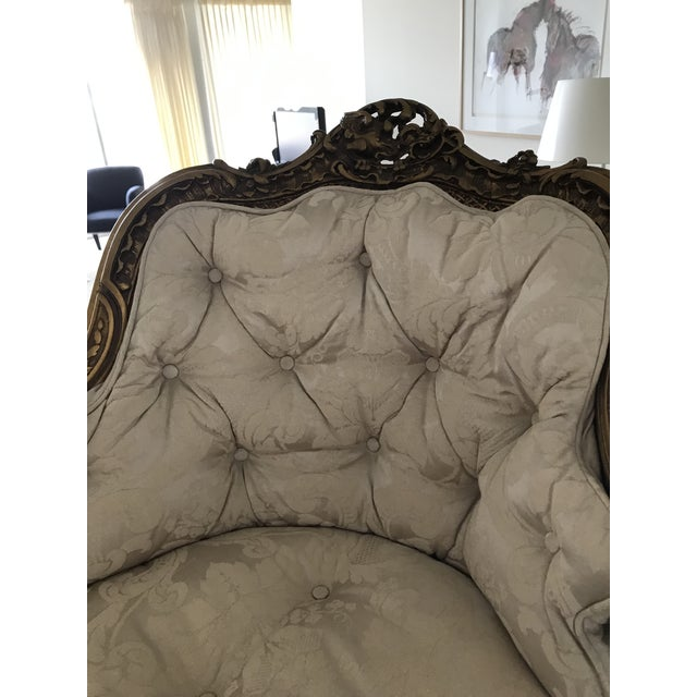 Caning Early 20th Century Antique French Caned Tufted Tete' Te Settee For Sale - Image 7 of 13