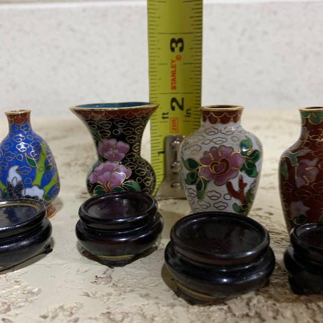 Blue Miniature Cloisonné Vases - Set of 5 For Sale - Image 8 of 10