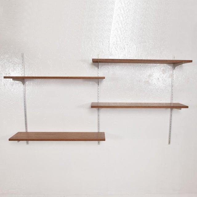 Danish Modern Mid-Century Modern Teak & Aluminum Wall Unit Shelving For Sale - Image 3 of 10