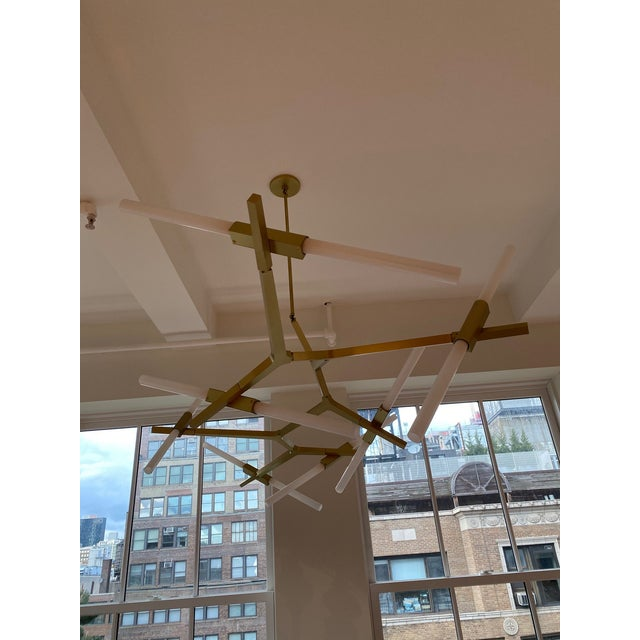 Agnes Chandelier - 14 Lights by Lindsey Adelman Beautiful brushed brass chandelier with 14 bulbs designed by Lindsay...