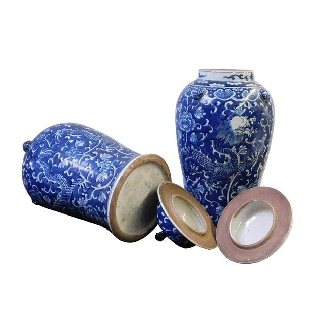 Chinese Blue & White Dragon Porcelain Jars - Pair - Image 5 of 6