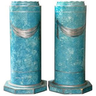 Blue Painted Pedestals - A Pair For Sale