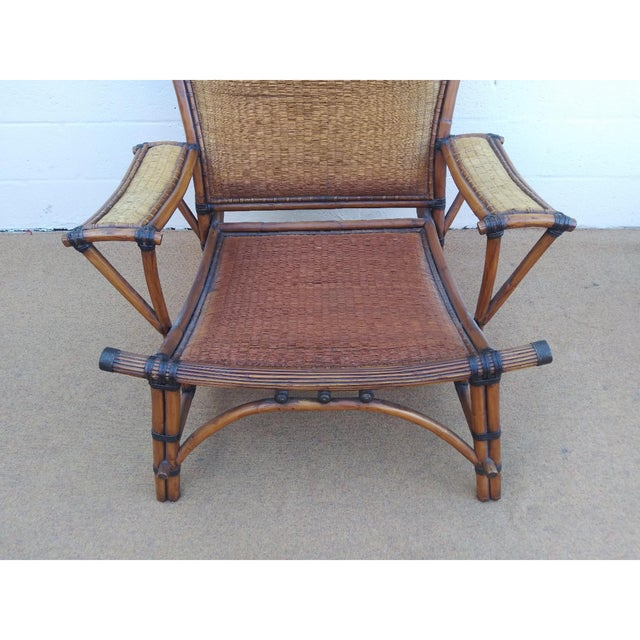 Marge Carson Asian Style Mandalay Rattan Club Chairs by Marge Carson With Rawhide Accent Bindings and Metal Accent Caps - a Pair For Sale - Image 4 of 12