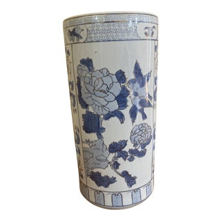 Vintage Blue White Floral Chinese Umbrella Stand For Sale
