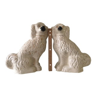Antique Staffordshire White and Gold Dog Figures - a Pair For Sale