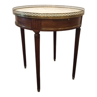 Louis XVI Style Walnut Gueridon Side Table with Carrara Marble Top For Sale