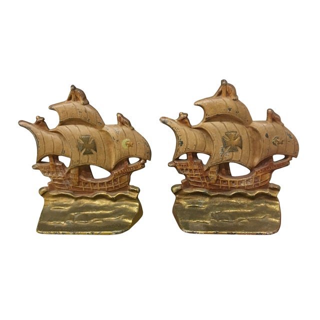Vintage Ship Bookends - a Pair For Sale - Image 4 of 4
