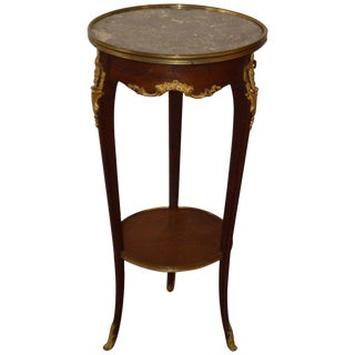 Louis XV Style Marble Top Mahogany Side Table