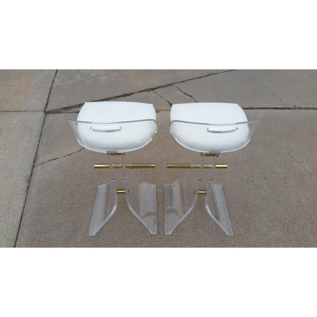 White Vintage Charles Hollis Jones Style Lucite Stools - a Pair For Sale - Image 8 of 11