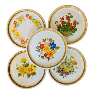 1960s Mismatched Floral Dinner Plates - Set of 5 For Sale