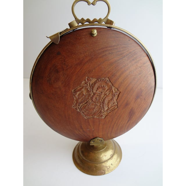 Vintage Carved Wood & Brass Portable Serving Tea Tray For Sale - Image 5 of 6