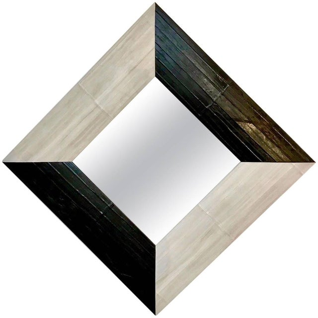 Animal Skin Contemporary Italian Square / Diamond Mirror in Black and Gray White Leather For Sale - Image 7 of 7