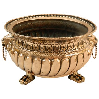 French Copper Jardiniere or Planter With Lion Handles, 19th Century For Sale