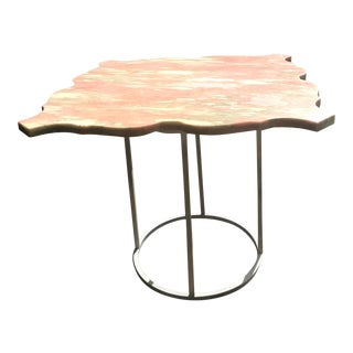 1960s French Provincial Pink Marble Top Square Coffee Table For Sale
