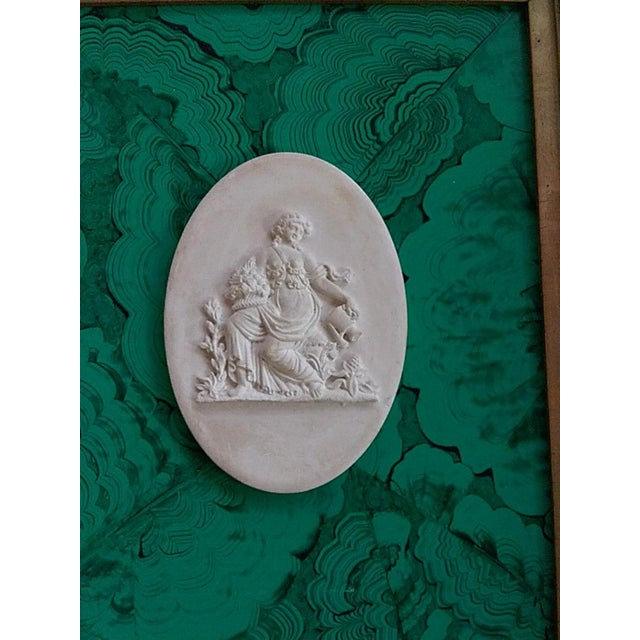 Market found, this vintage intaglio was paired with a hand painted green faux Malachite on a panel along with a 19th...