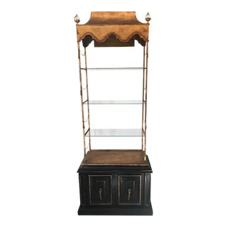 1960s Hollywood Regency Italian Tole Lighted Etagere For Sale