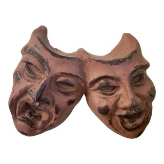 "Vintage Terra Cotta ""Tragedy and Comedy"" Wall Hanging For Sale"