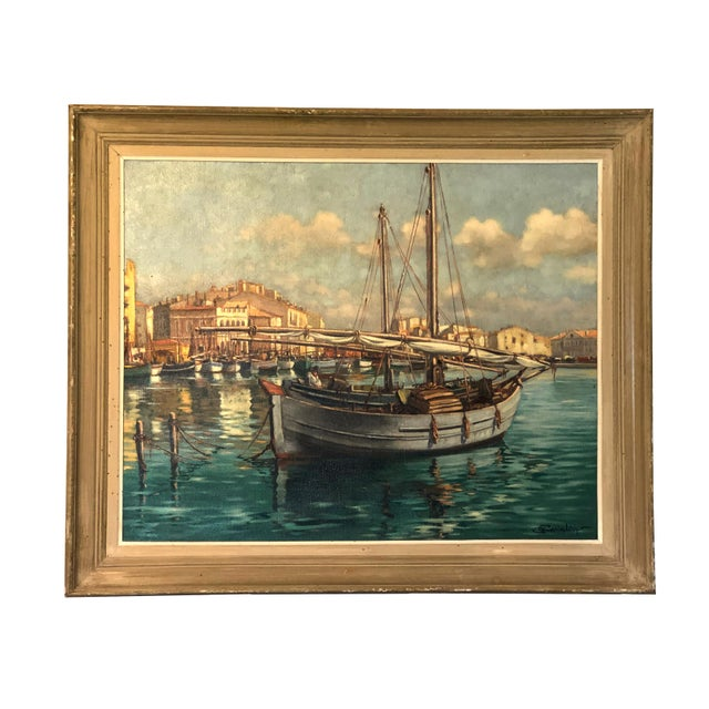 "Canvas Large Nautical ""Ships in Harbor"" Oil Painting For Sale - Image 7 of 7"