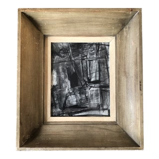Original Contemporary Abstract Charcoal Study Drawing Wide Vintage Modernist Frame For Sale