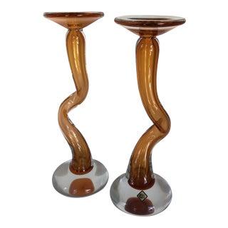 Czech Bohemian Orange Studio Glass Candlesticks by Glassworks Chribska Josef Hospodka - a Pair For Sale