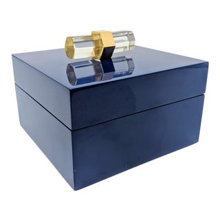 Navy Enamel Finish Box With Gold and Acrylic Accents