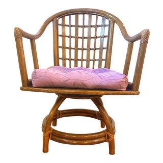 1970's Vintage Ficks Reed Rattan Swivel Chair For Sale
